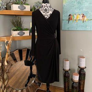 Chaps Gathered Side Faux Wrap Dress women's size L